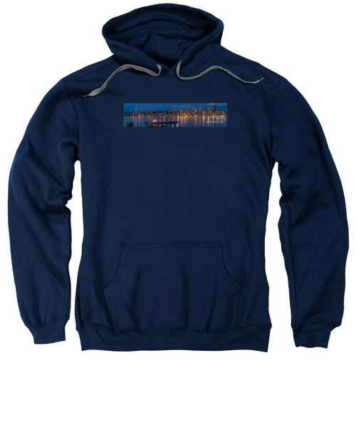 Elliott Bay Seattle Skyline Night Reflections  Sweatshirt by Mike Reid