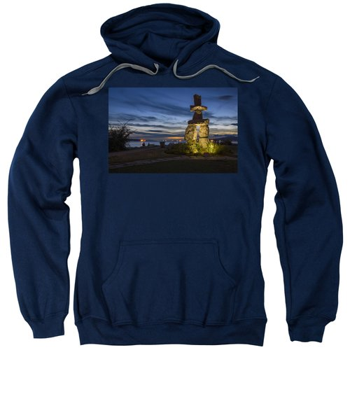 Sweatshirt featuring the photograph English Bay Inukshuk by Ross G Strachan