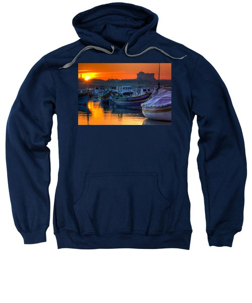 Fishing Boats In Birzebuggia Harbour Sweatshirt