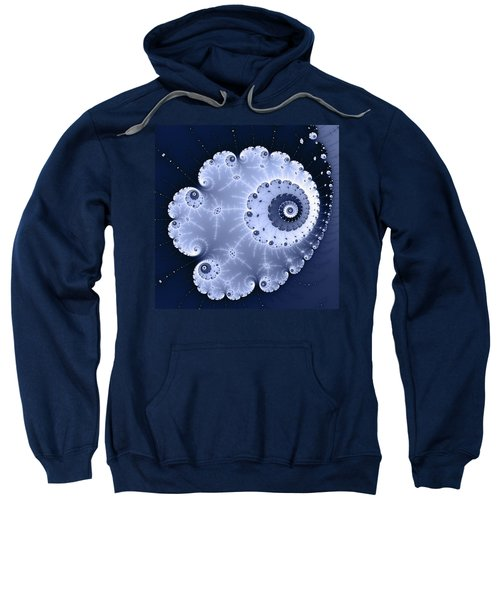 Fractal Spiral Light And Dark Blue Colors Sweatshirt by Matthias Hauser