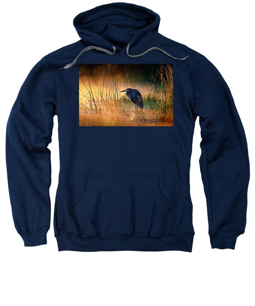 Goliath Heron With Sunrise Over Misty River Sweatshirt