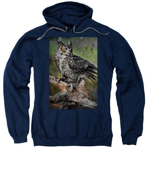 Great Horned Owl On Branch Sweatshirt