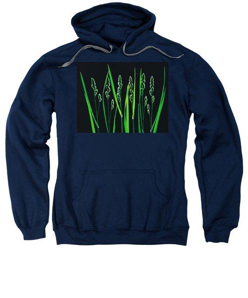 Green Grass Reeds On Black Background Sweatshirt
