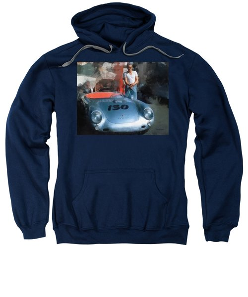 James Dean With His Spyder Sweatshirt
