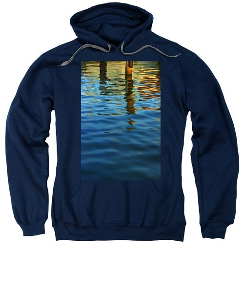Light Reflections On The Water By A Dock At Aransas Pass Sweatshirt