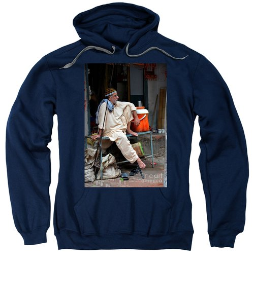 Man Sits And Relaxes In Lahore Walled City Pakistan Sweatshirt