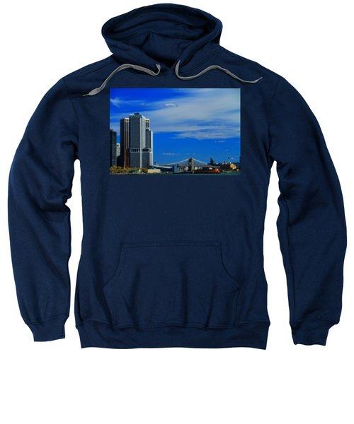 Manhattan Bridge And Nyc Skyline From The Harbor Sweatshirt