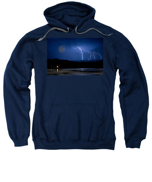 Misty Lake Full Moon Lightning Storm Fine Art Photo Sweatshirt