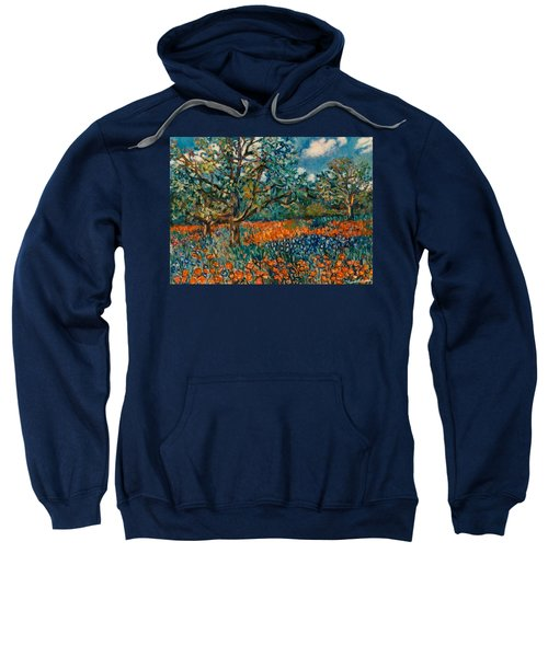 Orange And Blue Flower Field Sweatshirt