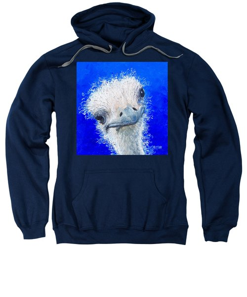 Ostrich Painting 'waldo' By Jan Matson Sweatshirt by Jan Matson