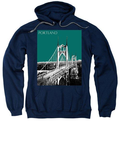 Portland Skyline St. Johns Bridge - Sea Green Sweatshirt