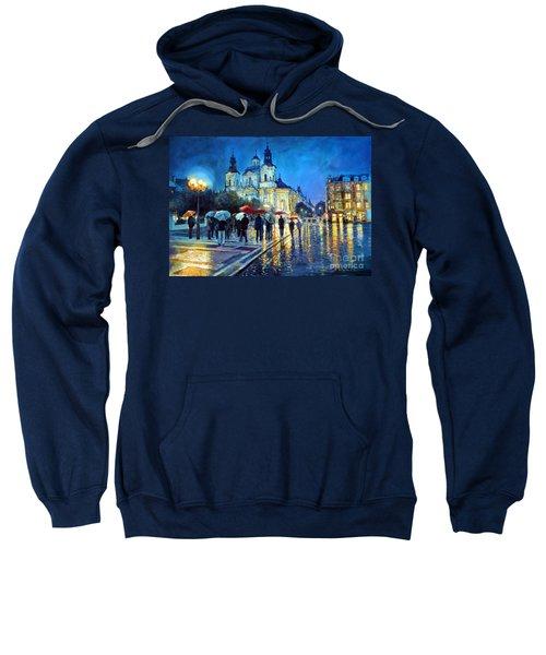Prague Old Town Square  View Of Street Parizska And St.nicolas Church Sweatshirt