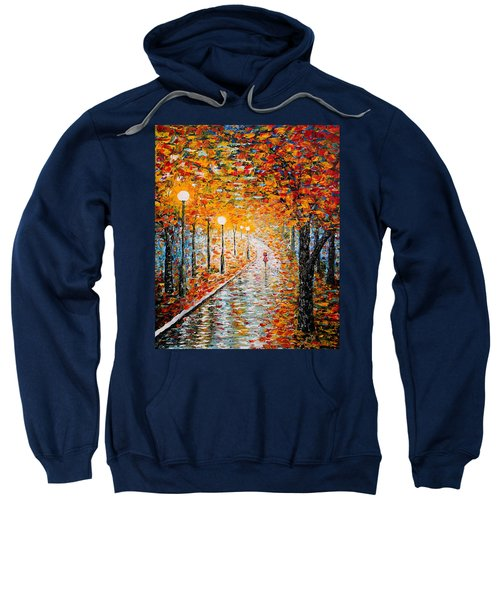 Sweatshirt featuring the painting Rainy Autumn Day Palette Knife Original by Georgeta  Blanaru