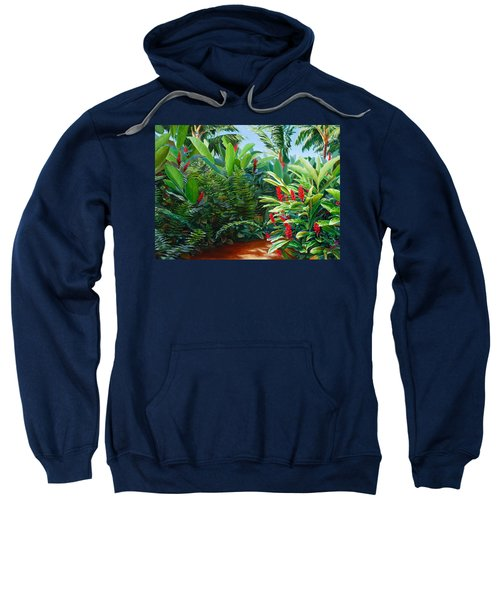 Tropical Jungle Landscape - Red Garden Hawaiian Torch Ginger Wall Art Sweatshirt