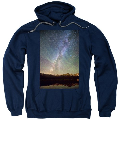 Rocky Mountains Indian Peaks Milky Way Rising Sweatshirt