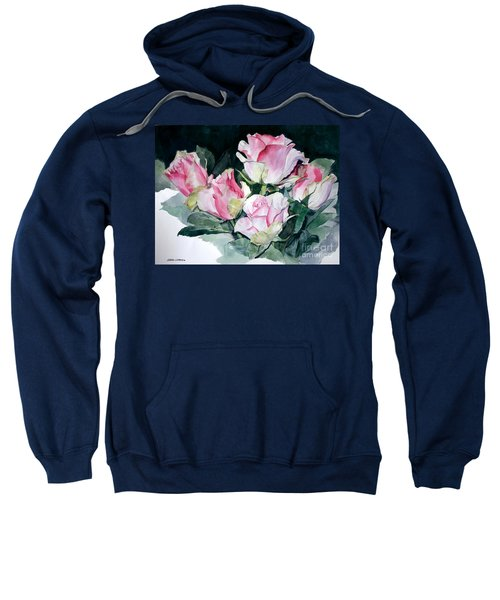 Watercolor Of A Pink Rose Bouquet Celebrating Ezio Pinza Sweatshirt