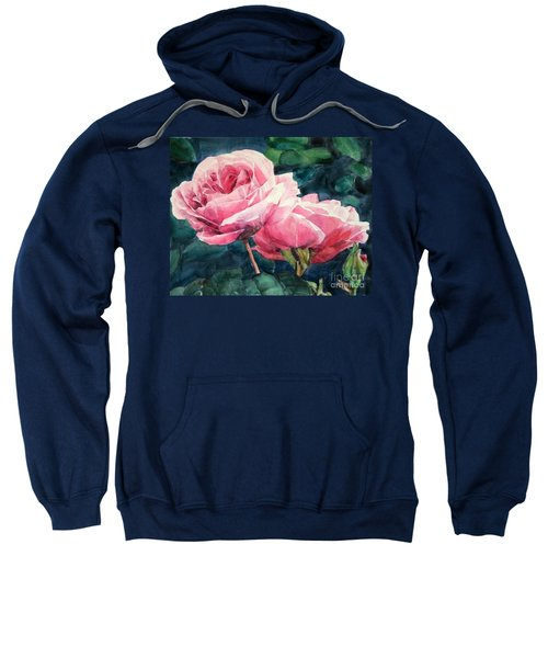 Watercolor Of Two Luscious Pink Roses Sweatshirt