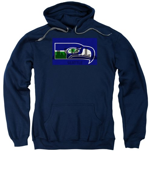Seattle Seahawks On Seattle Skyline Sweatshirt by Dan Sproul