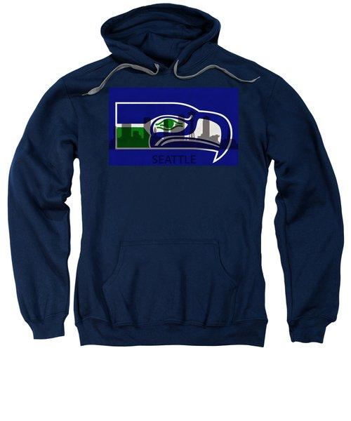 Seattle Seahawks On Seattle Skyline Sweatshirt