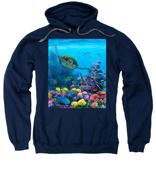 Secret Sanctuary - Hawaiian Green Sea Turtle And Reef Sweatshirt