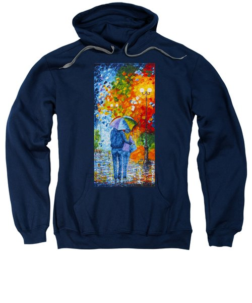 Sweatshirt featuring the painting Sharing Love On A Rainy Evening Original Palette Knife Painting by Georgeta Blanaru