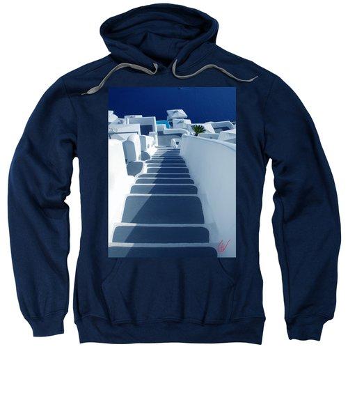 Stairs Down To Ocean Santorini Sweatshirt