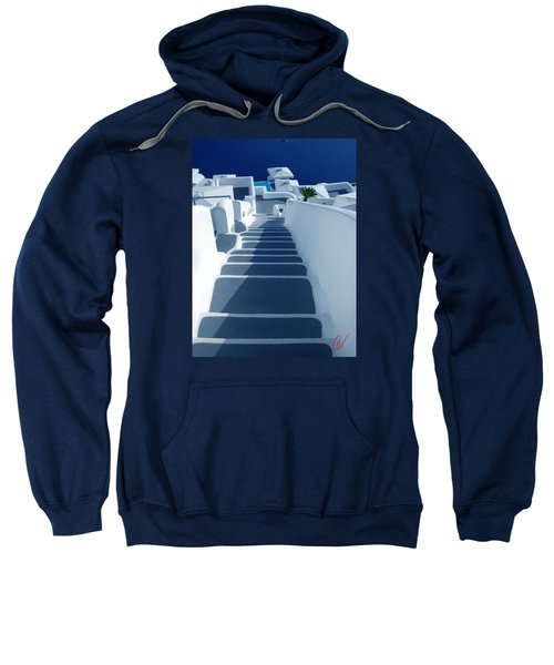 Stairs Down To Ocean Santorini Sweatshirt