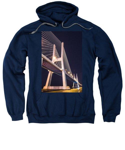 Vasco Da Gama Bridge At Night Sweatshirt