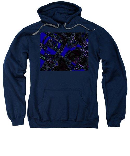 Sweatshirt featuring the digital art Vinyl Blues by Judi Suni Hall