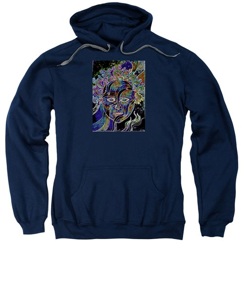 Sweatshirt featuring the drawing Mythic Mask by Nareeta Martin