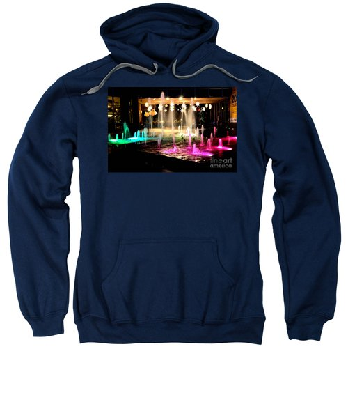 Water Fountain With Stars And Blue Green With Pink Lights Sweatshirt