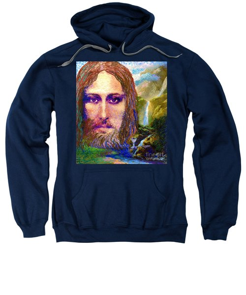 Contemporary Jesus Painting, Chalice Of Life Sweatshirt