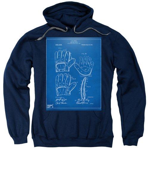 1910 Baseball Glove Patent Artwork Blueprint Sweatshirt by Nikki Marie Smith