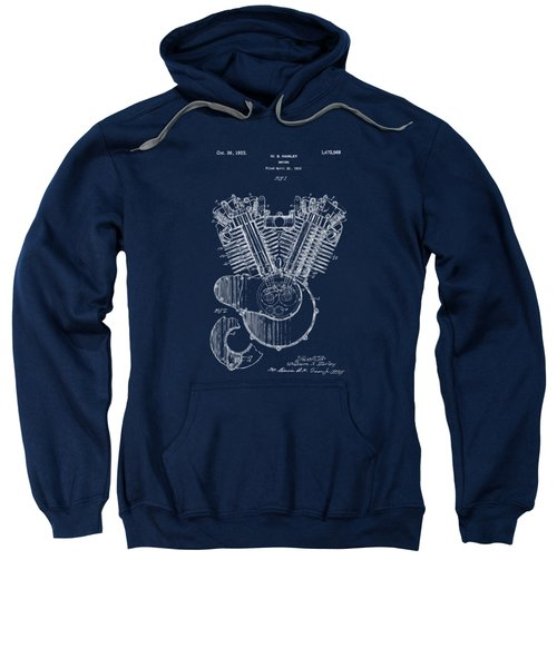 1923 Harley Davidson Engine Patent Artwork - Blueprint Sweatshirt