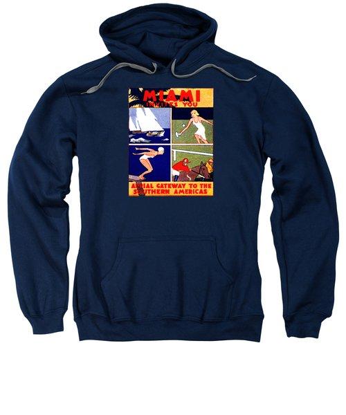 1925 Miami Travel Poster Sweatshirt