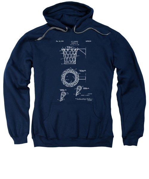 1951 Basketball Net Patent Artwork - Blueprint Sweatshirt by Nikki Marie Smith