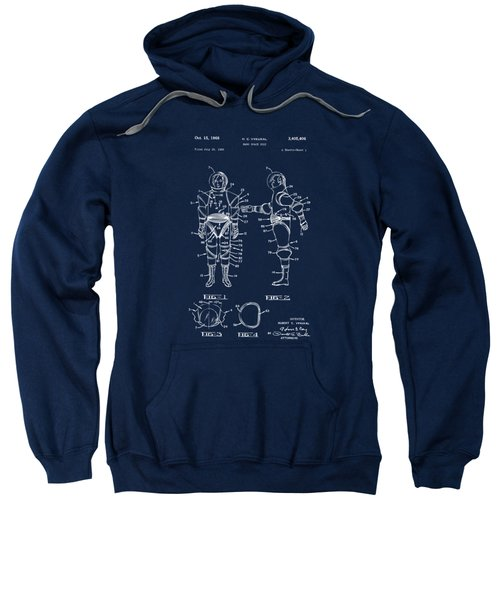 1968 Hard Space Suit Patent Artwork - Blueprint Sweatshirt by Nikki Marie Smith