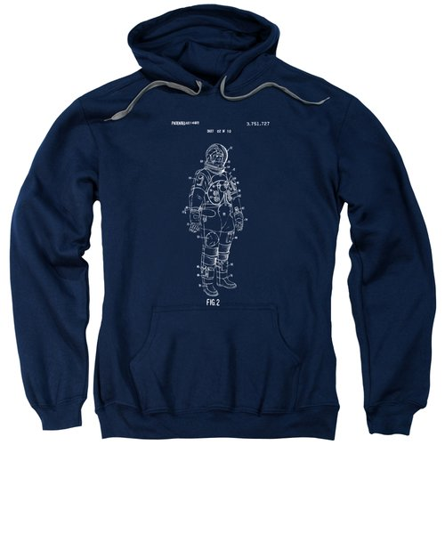 1973 Astronaut Space Suit Patent Artwork - Blueprint Sweatshirt