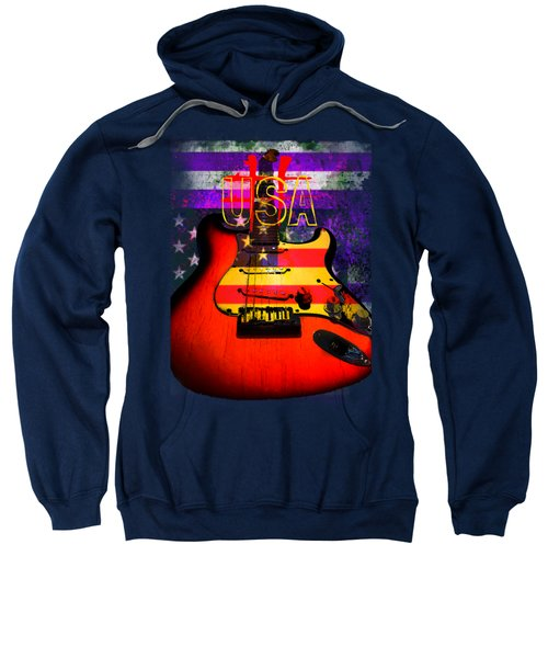 Red Usa Flag Guitar  Sweatshirt