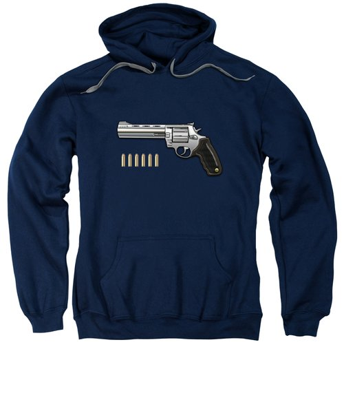 .44 Magnum Colt Anaconda With Ammo On Blue Velvet  Sweatshirt