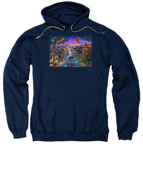 African Animals At The Water Hole Sweatshirt