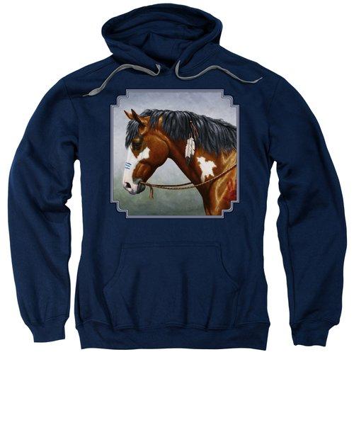 Bay Native American War Horse Sweatshirt by Crista Forest