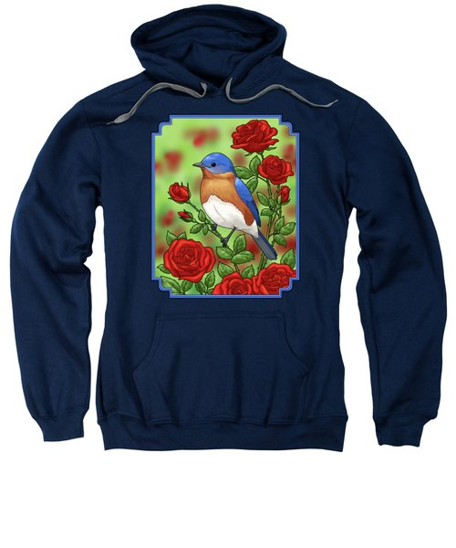 New York State Bluebird And Rose Sweatshirt by Crista Forest