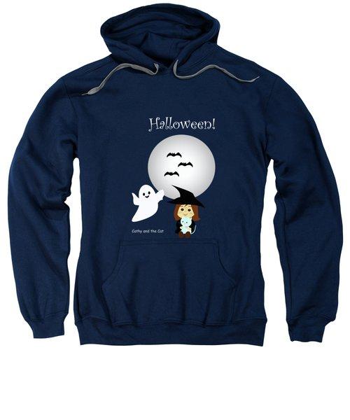 Cathy And The Cat Enjoy Halloween #4 Sweatshirt