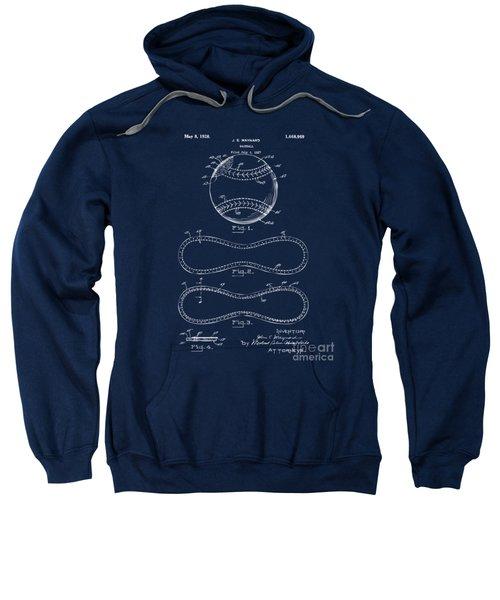 1928 Baseball Patent Artwork - Blueprint Sweatshirt by Nikki Smith