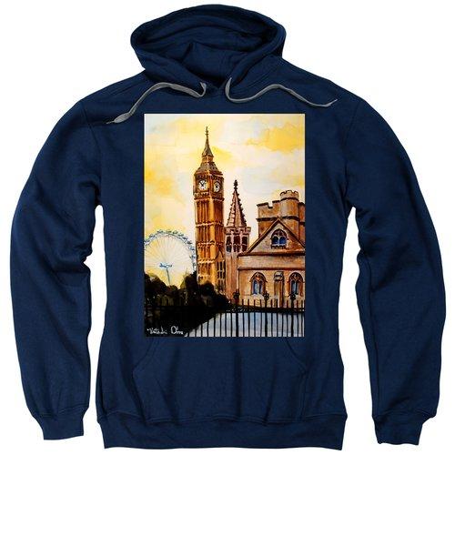Big Ben And London Eye - Art By Dora Hathazi Mendes Sweatshirt by Dora Hathazi Mendes