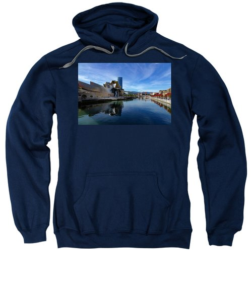 Bilbao In Autumn With Blue Skies Next To The River Nervion Sweatshirt