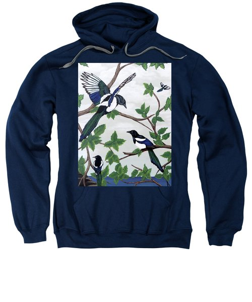 Black Billed Magpies Sweatshirt by Teresa Wing