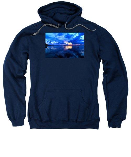 Sweatshirt featuring the photograph Blazing Blue Sunset by Anthony Baatz
