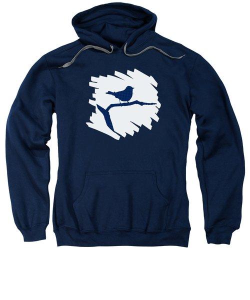 Blue Bird Silhouette Modern Bird Art Sweatshirt